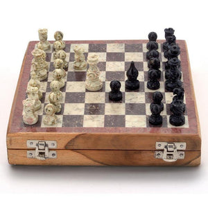 Indian Hand Carved Wooden Stone Inlay Chess Game Board Set With Handcrafted Stone Pieces - thar-artefacts