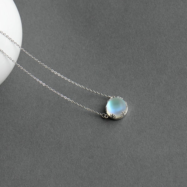 55cm Aurora Pendant Necklace Halo Crystal Gemstone s925 Silver Scale Light Necklace for Women - thar-artefacts