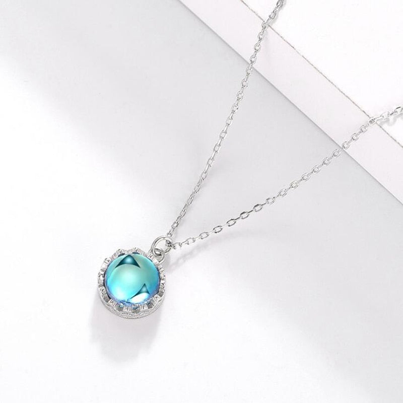 Blue Aurora Pendant Necklace Round Lace s925 Sterling Silver Crystal Jewelry For Women - thar-artefacts