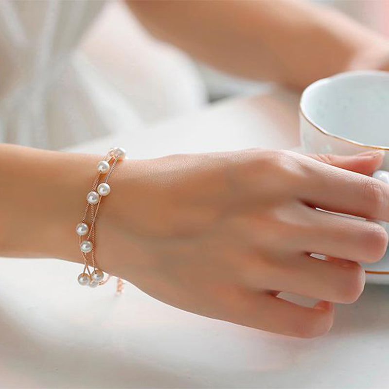 Simple Sweet Simulated Pearl Bracelet For Women - thar-artefacts