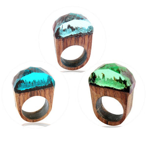 Round Wooden Magic Forest Mountain Rings For Women - thar-artefacts