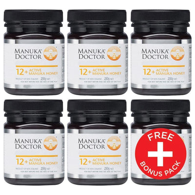 12+ TA Manuka Honey 250g 5 Pack + 1 FREE Pot