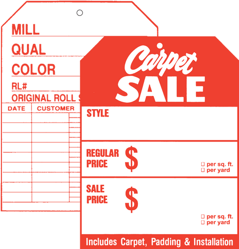 512 Front / 507 Back Carpet Sale Two Sided Tag