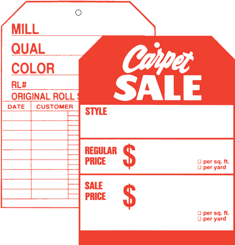 519 Front / 507 Back Carpet Sale Two Sided Tag