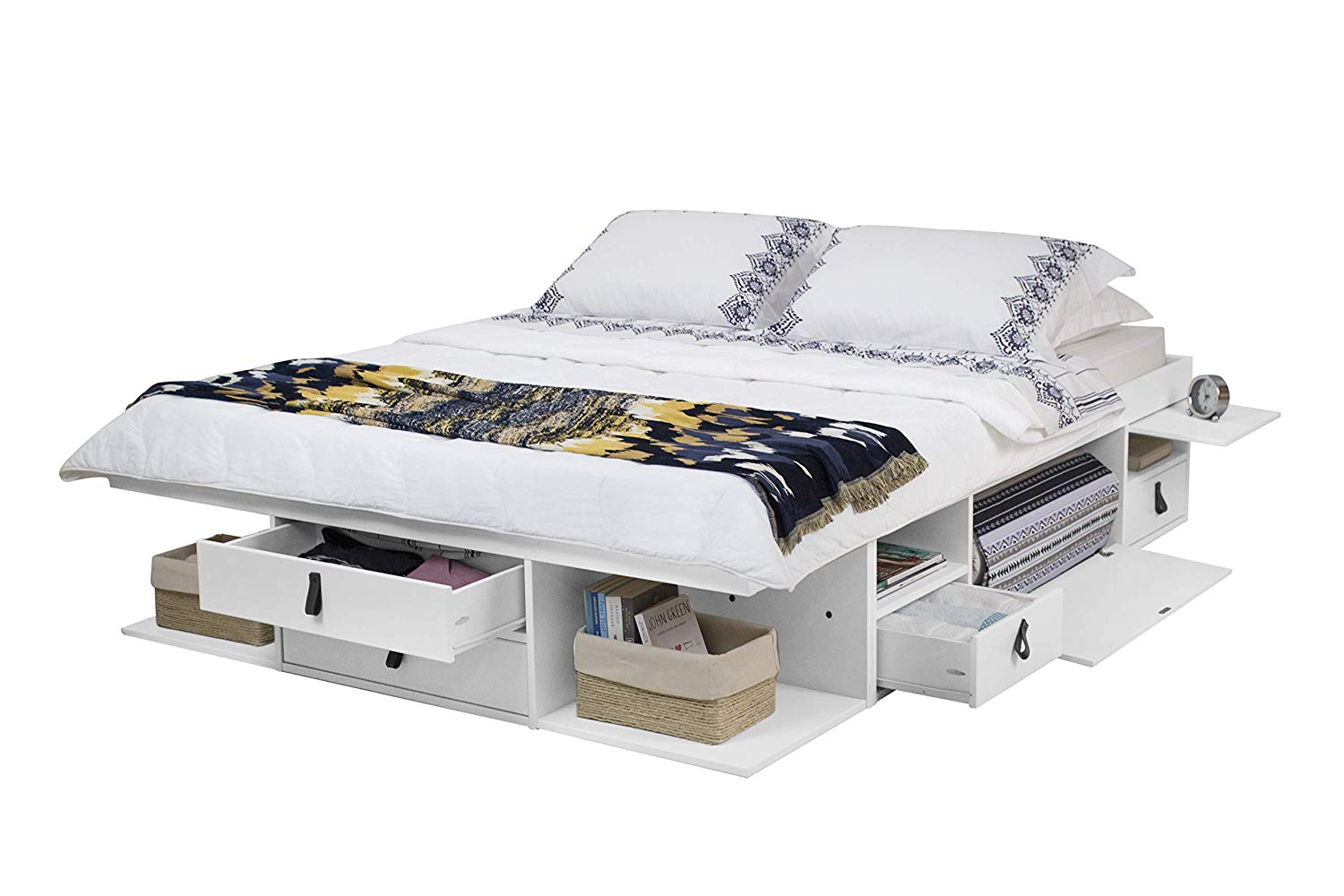 Memomad Bali Storage Platform Bed (Queen Size, Off White) - memomad.store