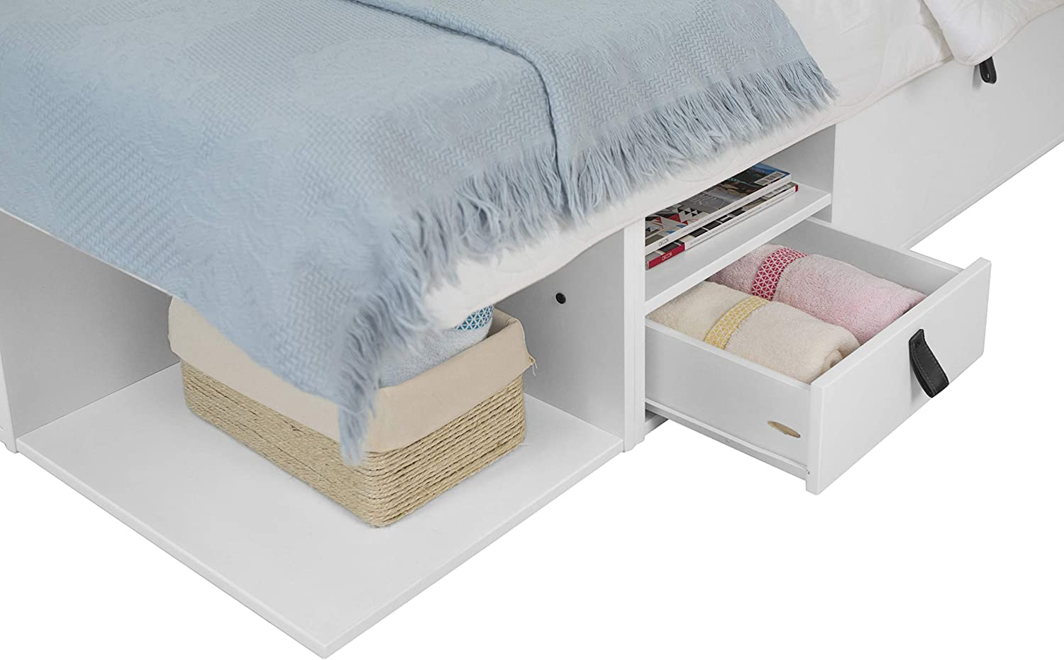 Memomad Bali Storage Platform Bed (Full Size, Off White) - memomad.store