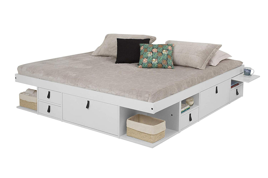 Memomad Bali Storage Platform Bed (King Size, Off White) - memomad.store