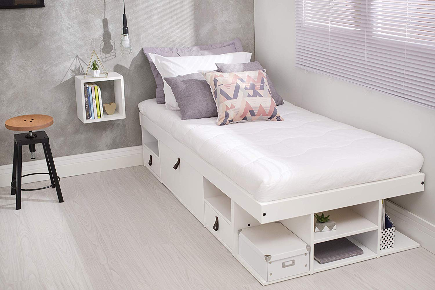 Memomad Bali Storage Platform Bed (Twin Size, Off White) - memomad.store