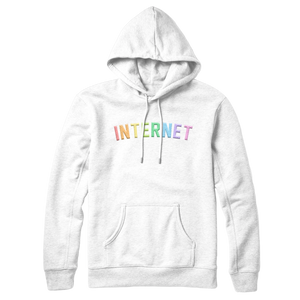 EMBROIDERED INTERNET HOODIE - RAINBOW WHITE
