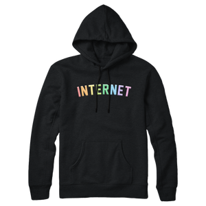 EMBROIDERED INTERNET HOODIE - RAINBOW BLACK