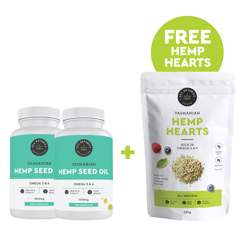 ECS Botanics Hemp Oil Capsules and Free Hemp Hearts