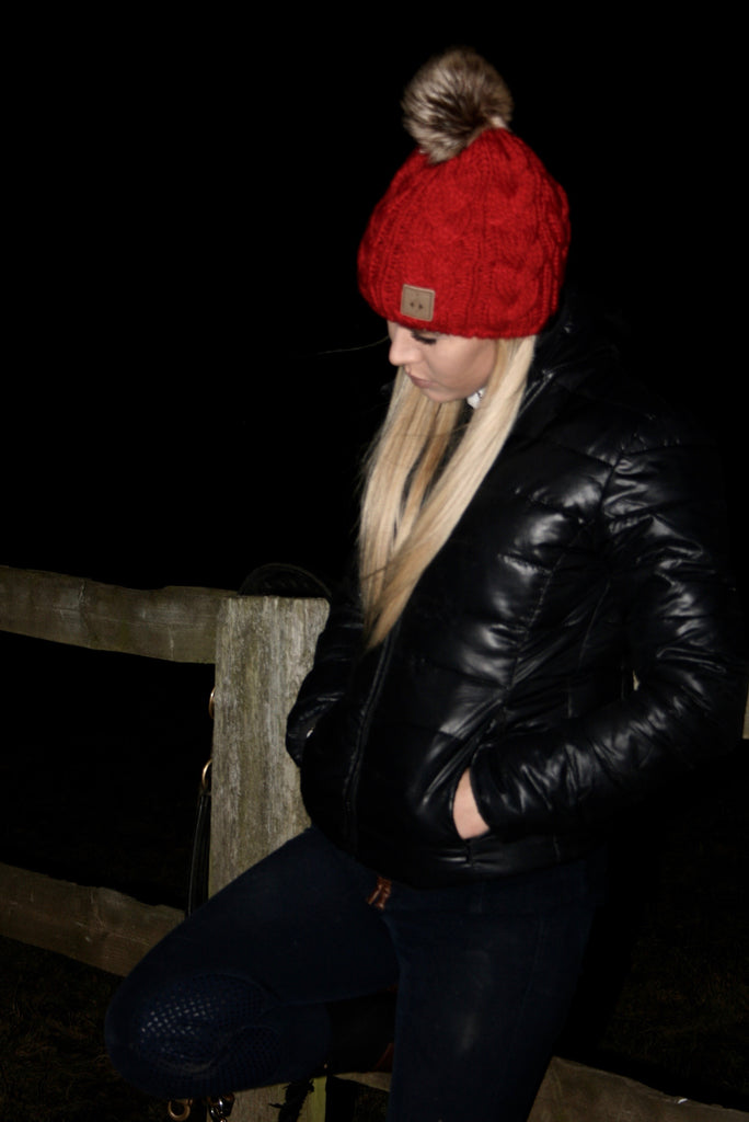 Ruby Red Detachable Pom Hat