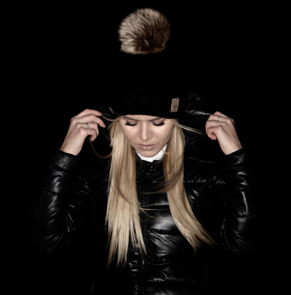 Shadow Black Detachable Pom Hat