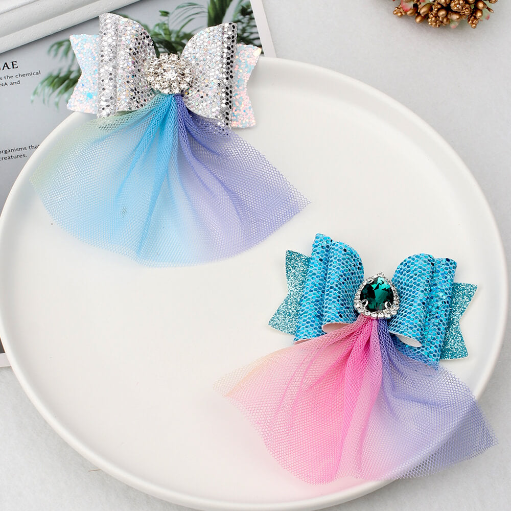 Charming Princess Rhinestone Hair Bows