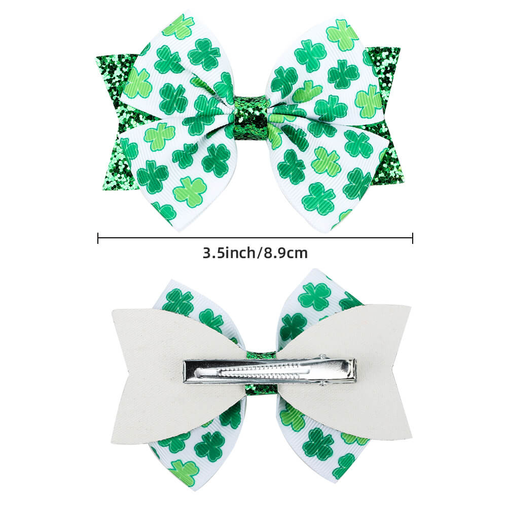 St. Patrick's Day Clover Hair Clips
