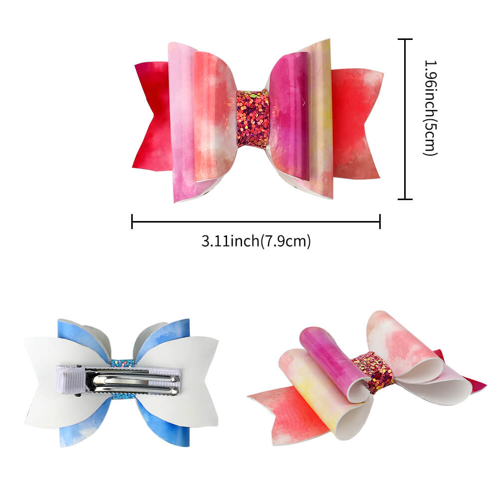 Gradient Cloud Leather Hair Clips