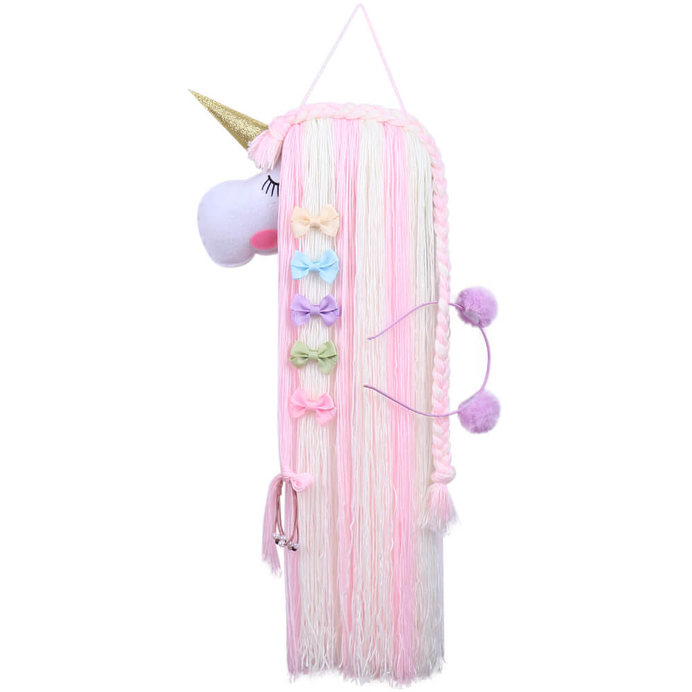 Unicorn Yarn Tassels Hair Bow Holder - Pink