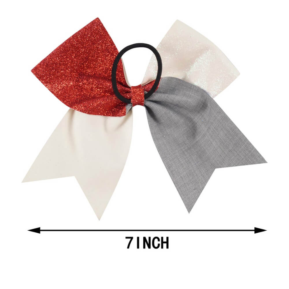 Red White Blue Glitter Cheer Bows