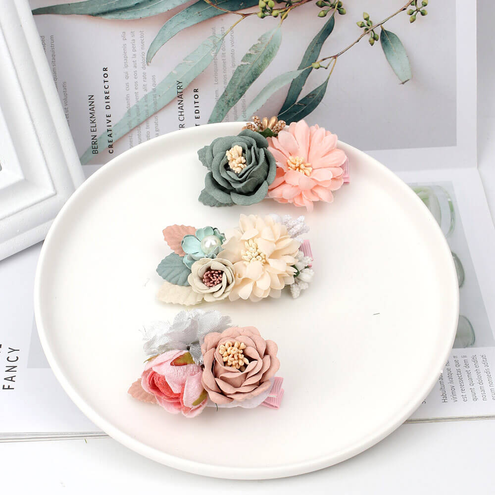 3pcs/set Flower Hair clips for Girls