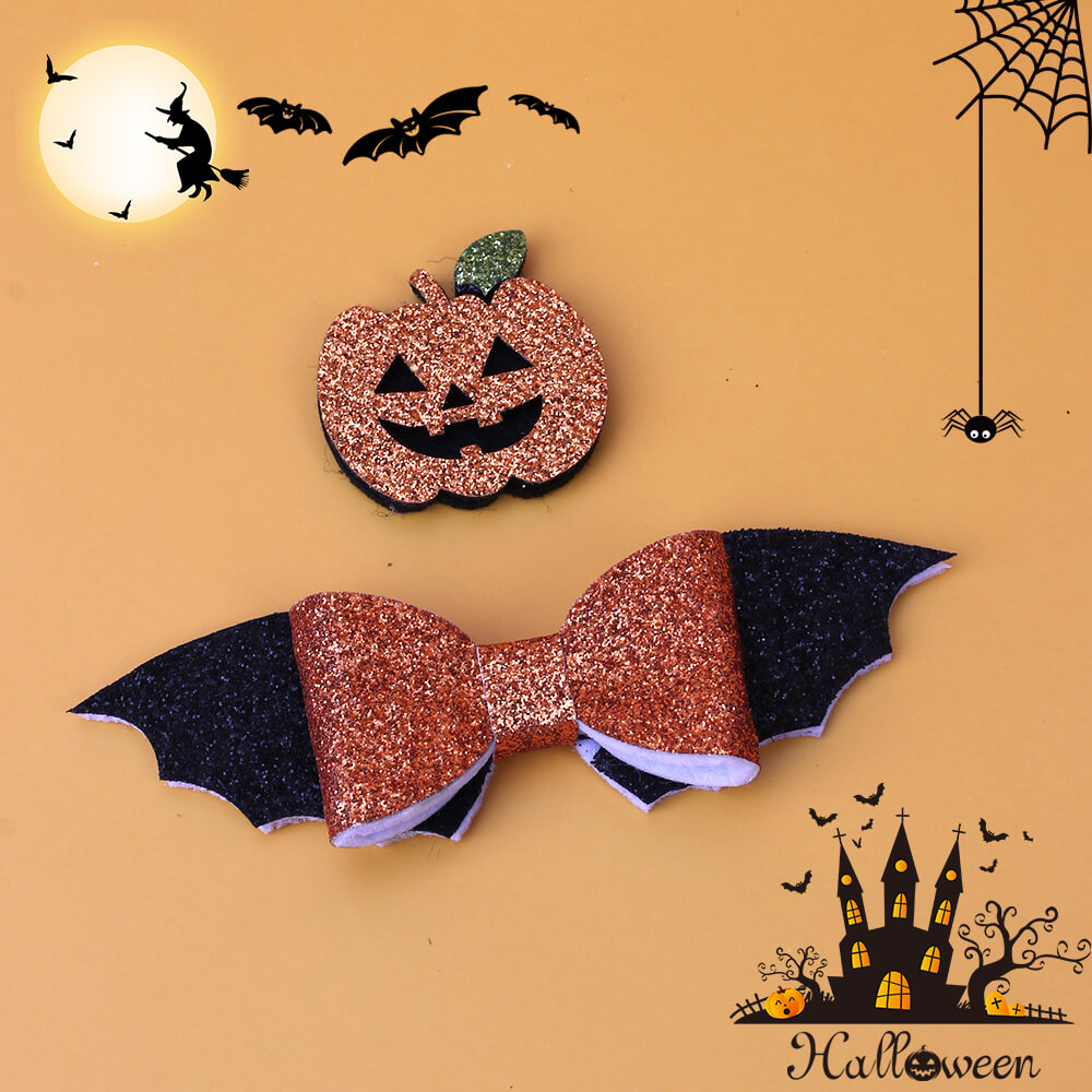 2pcs Glitter Bat and Pumpkin Hair Clips