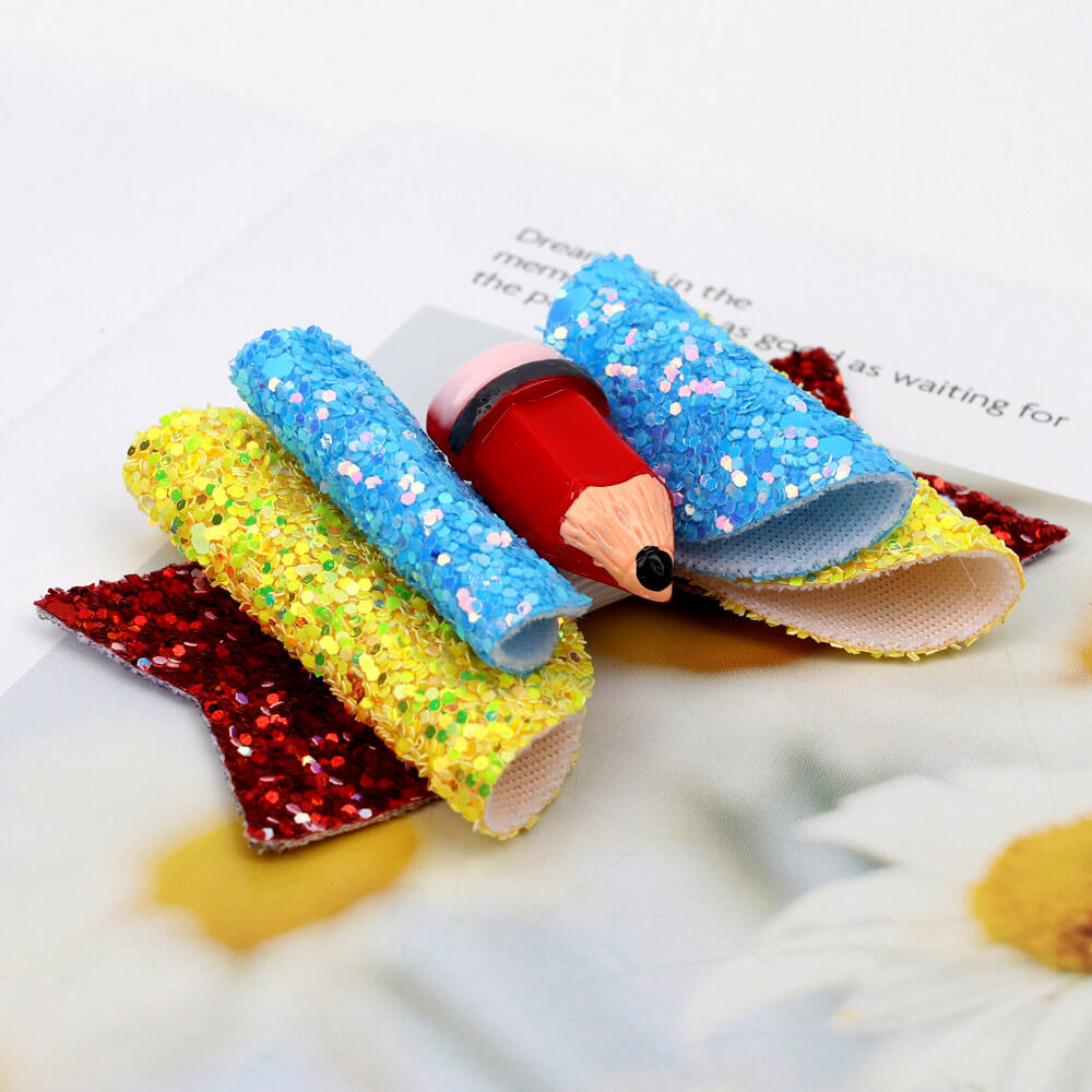 Pencil Glitter and Leather Hair Clips