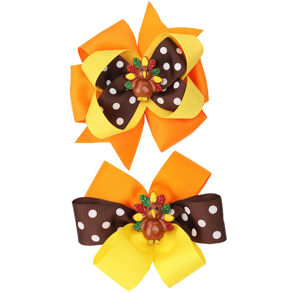 Bright Color Turkey Hair Bows