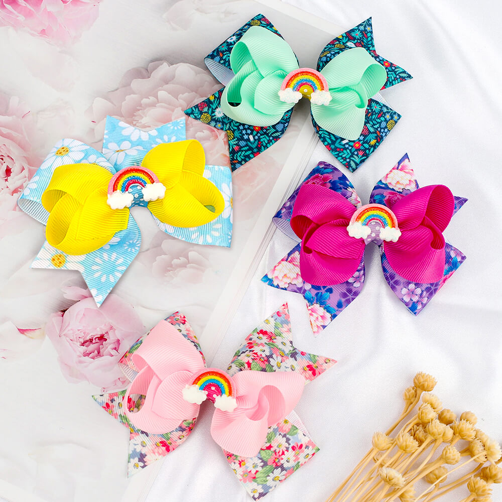 rainbow hair bows