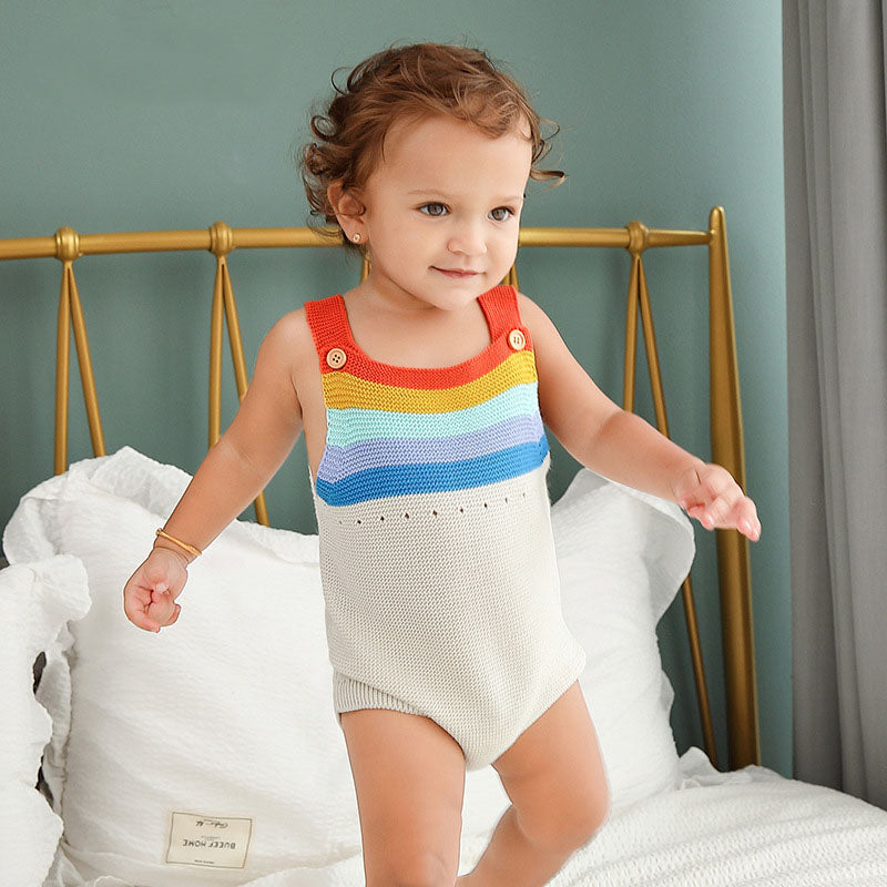 Rainbow Striped Knitted Baby Romper