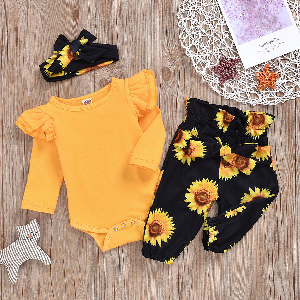 Sunflower baby romper