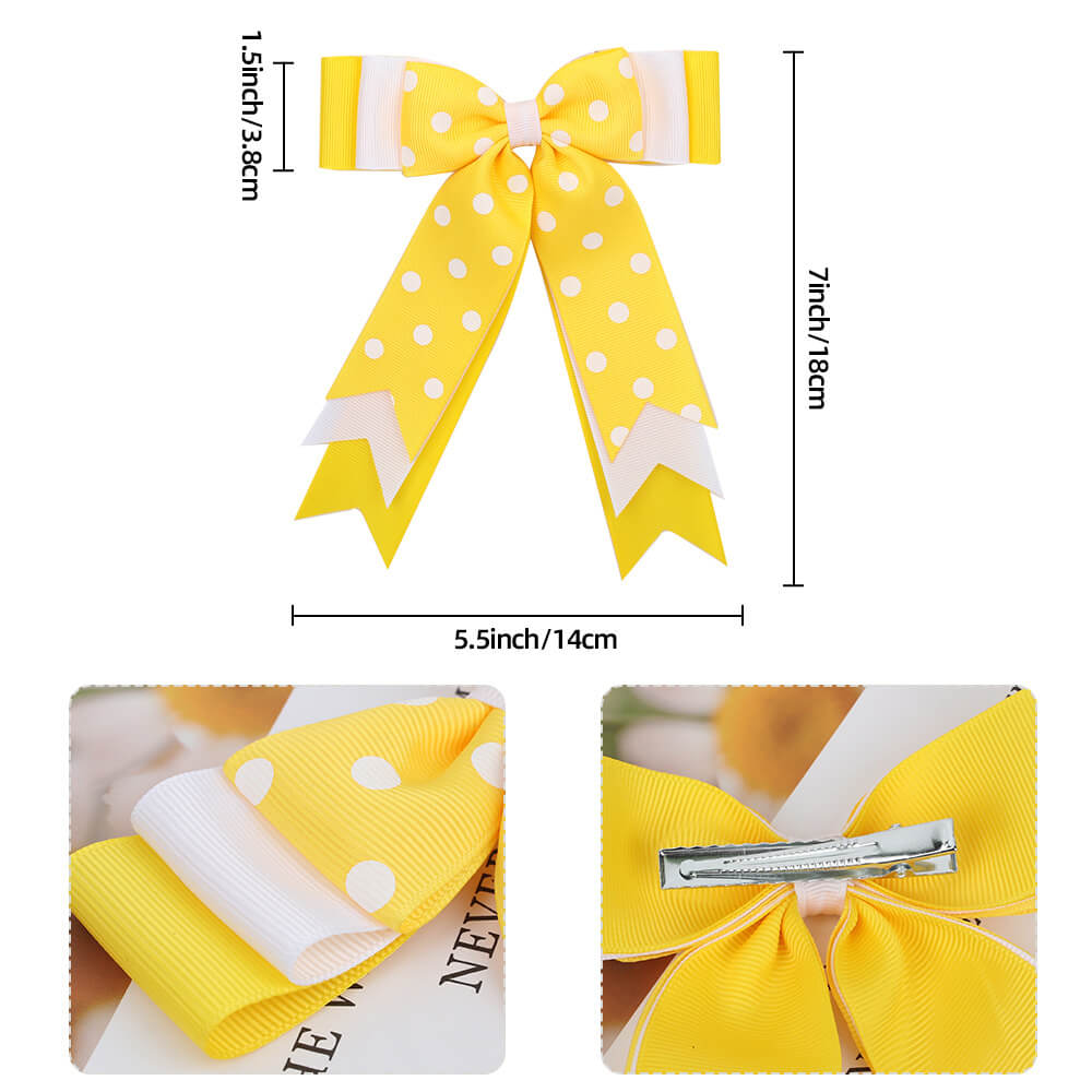 Large Hair Bow Polka Girl Hair Clips