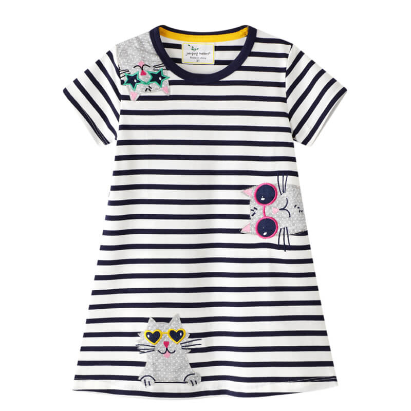 Cute Cats Striped Girls Dresses