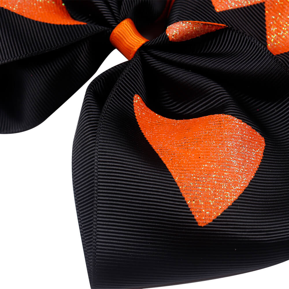 Black Halloween Glitter Cheer Bows