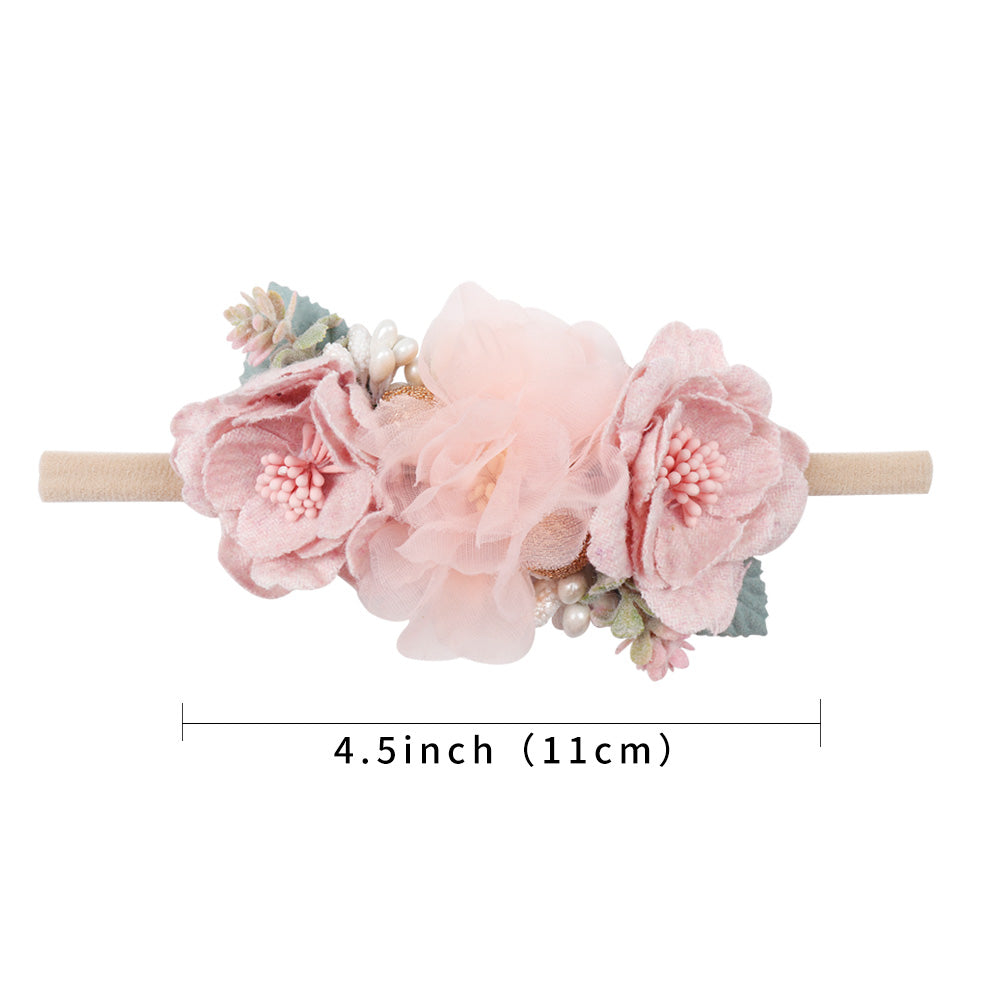 3pcs Lovely Baby Fake Flower Nylon Headbands