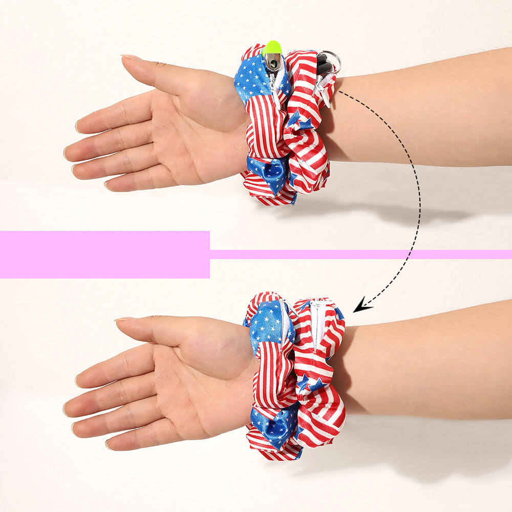 American Flag Zipper Scrunchies