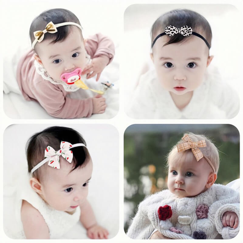 8PCS Bowknot Nylon Baby Headband Set