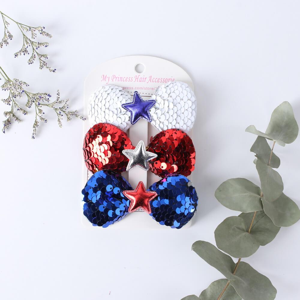 3pcs/ lot 4th of July Sequin Hair Clip