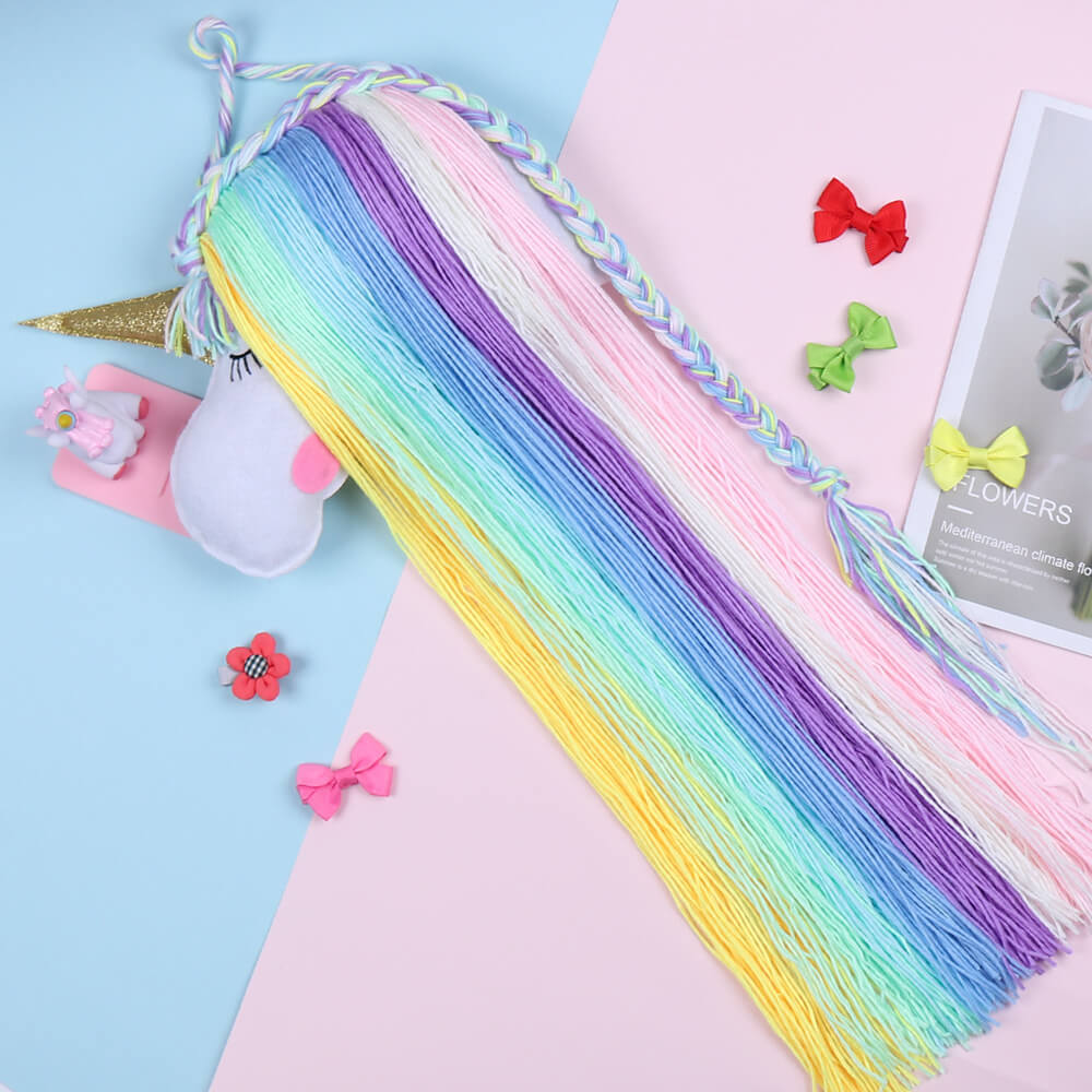 Unicorn Yarn Tassels Hair Bow Holder - Rainbow