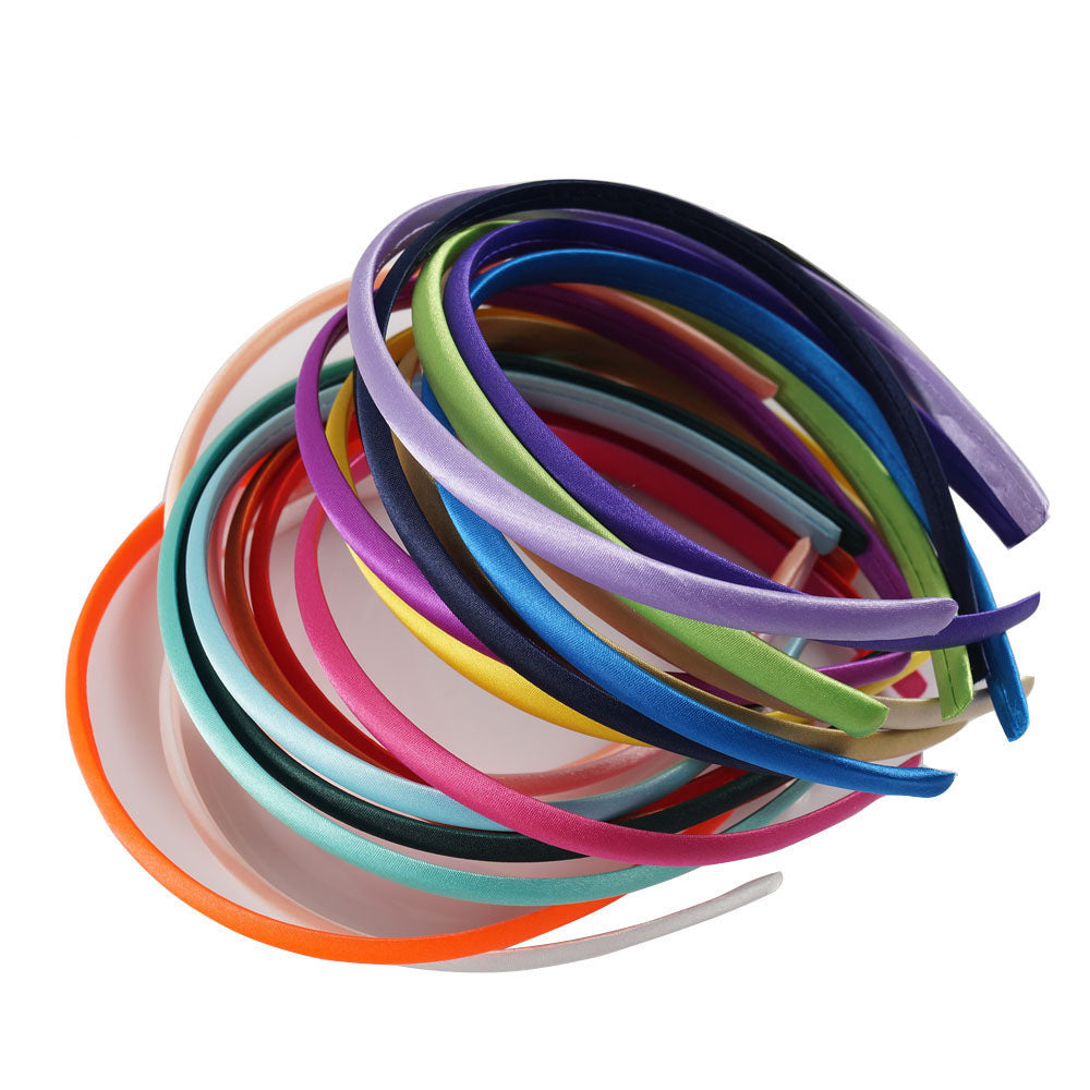 20pcs/pack Solid Color Satin Covered Resin Hairbands