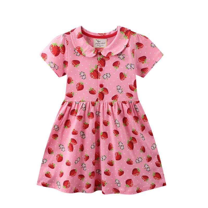 Strawberry Lapel Girl Dress