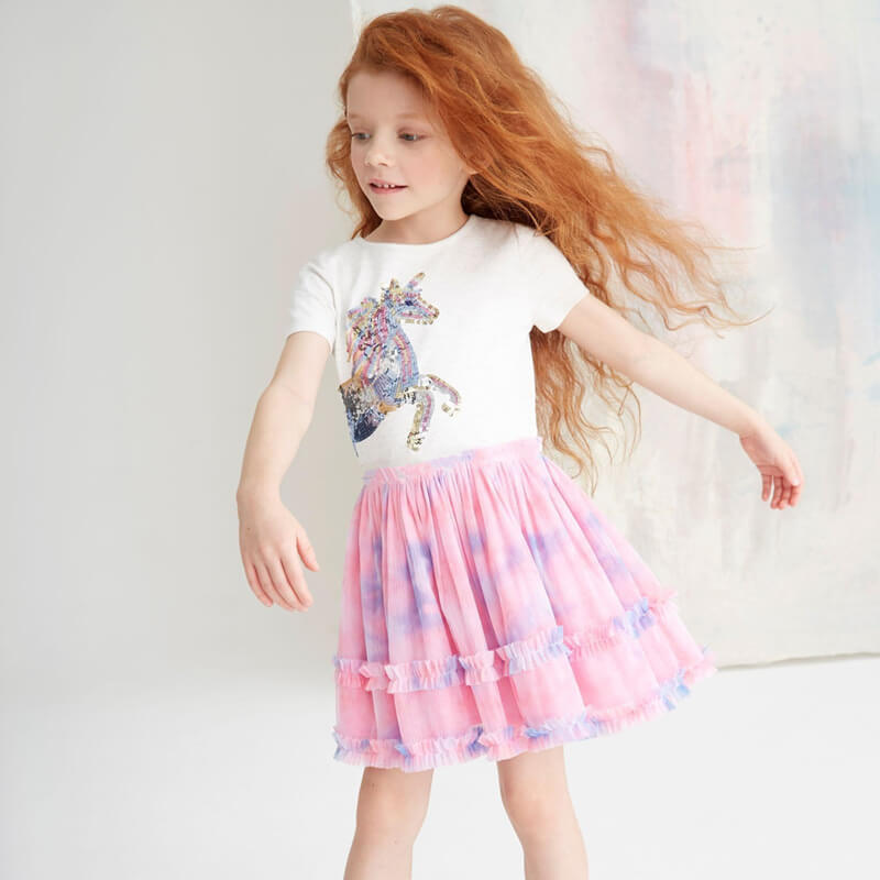 Unicorn Gradient Mesh Girls Dress