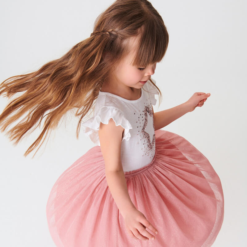 Shiny Stars Summer Tulle Dress for Girls