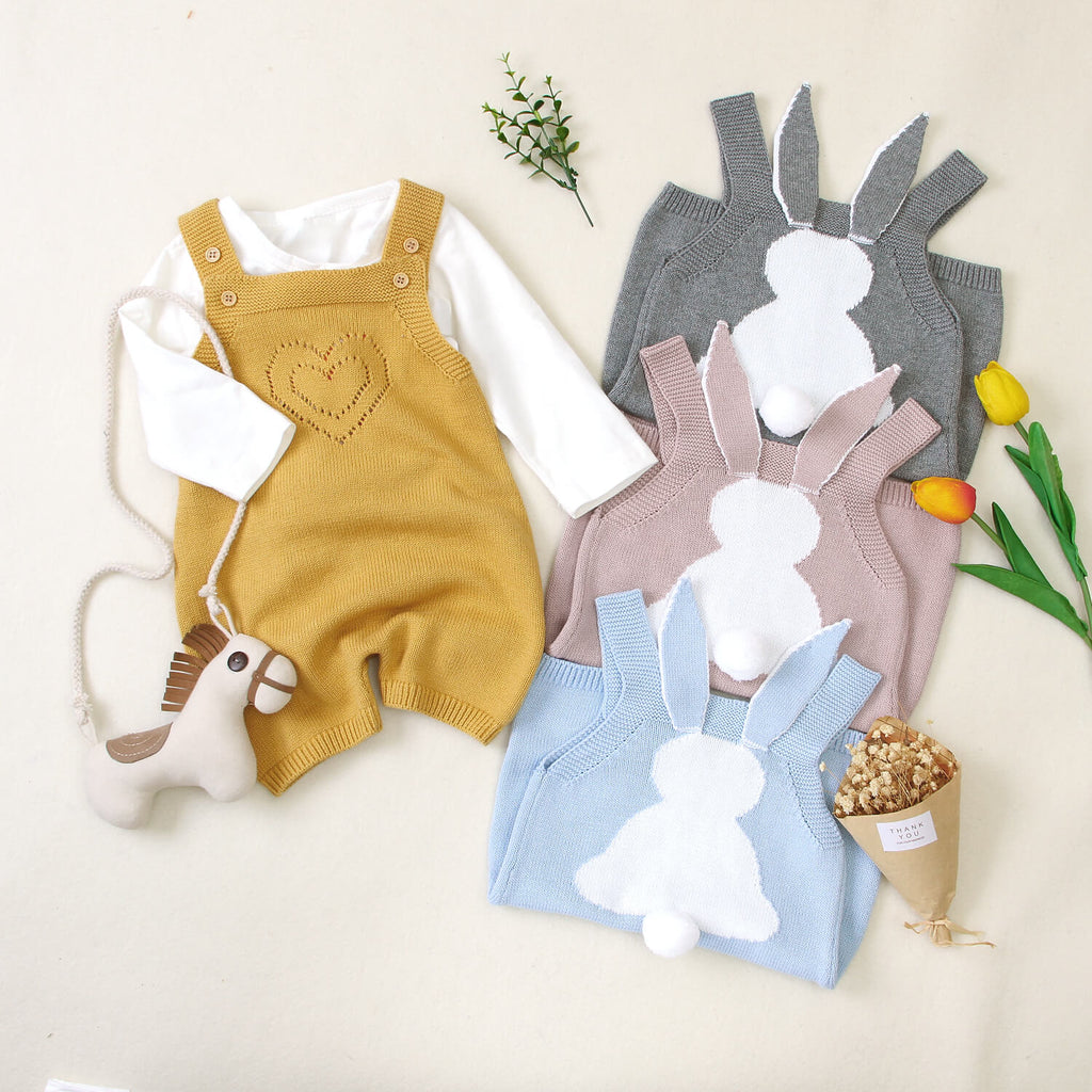 Bunny Knitted Strap Baby Romper