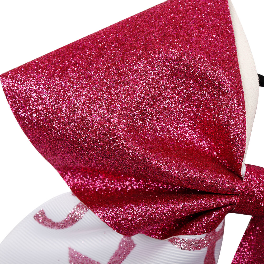 Breast Cancer Awareness Grosgrain Glitter Cheer Bows