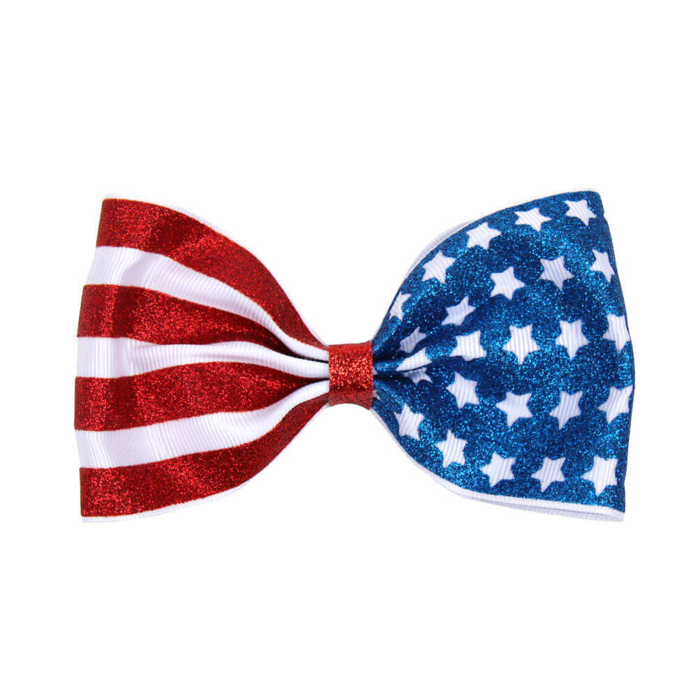 American Flag Glitter Hair Clips
