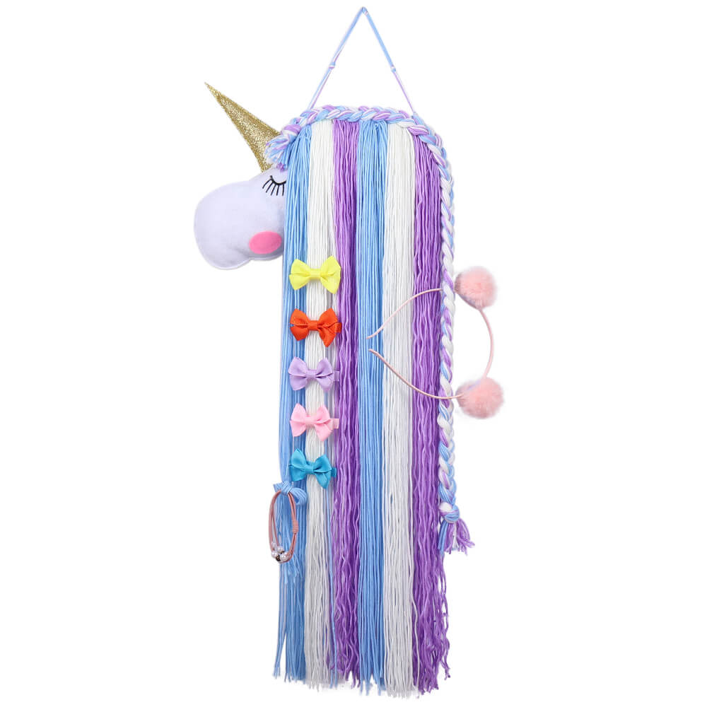 Unicorn Yarn Tassels Hair Bow Holder - Purple Blue
