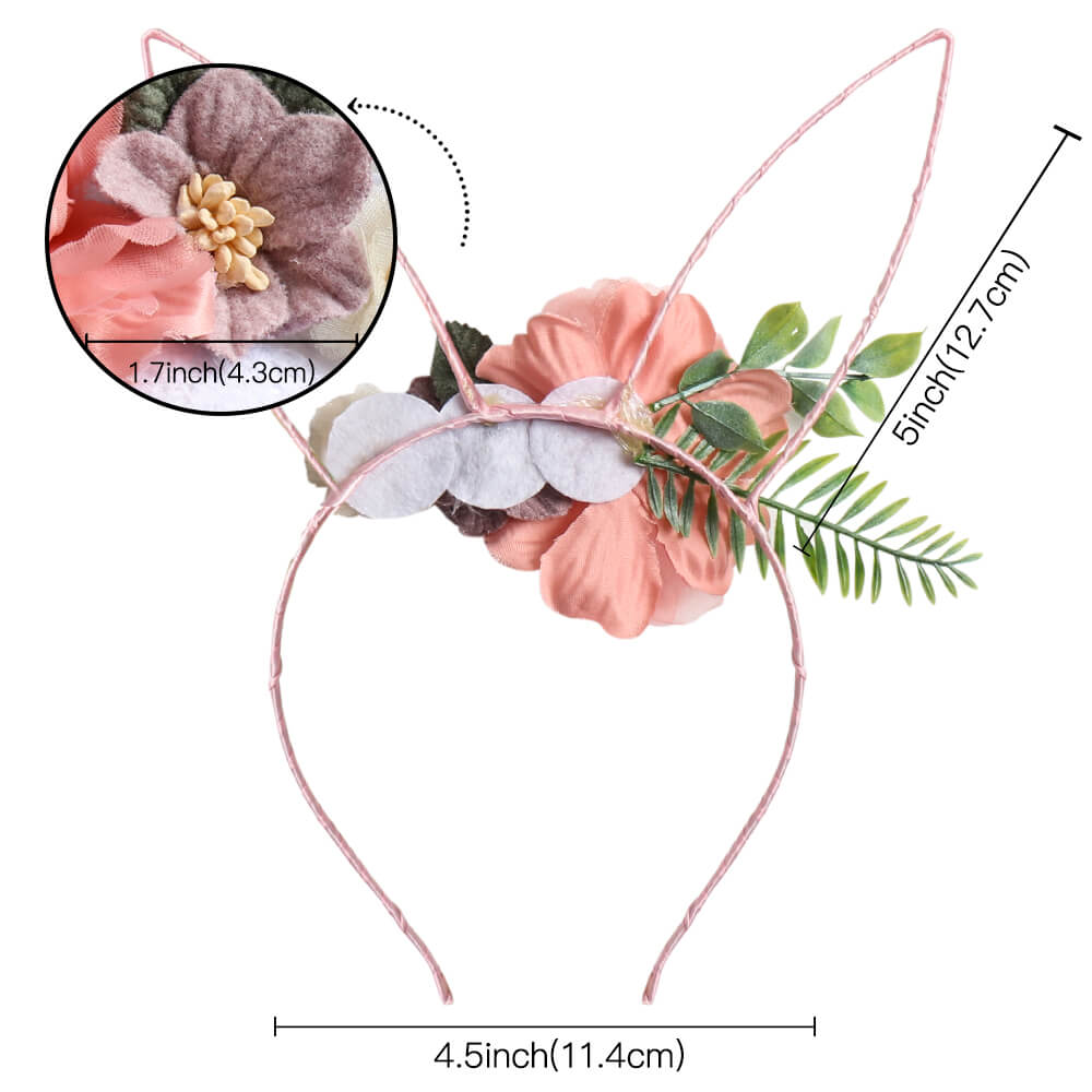 Rabbit Ear Flower Headband for Girls