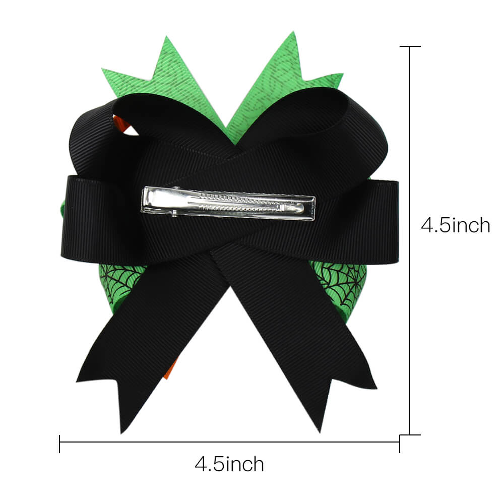 Halloween Ribbon Hair Bows with Halloween Patches