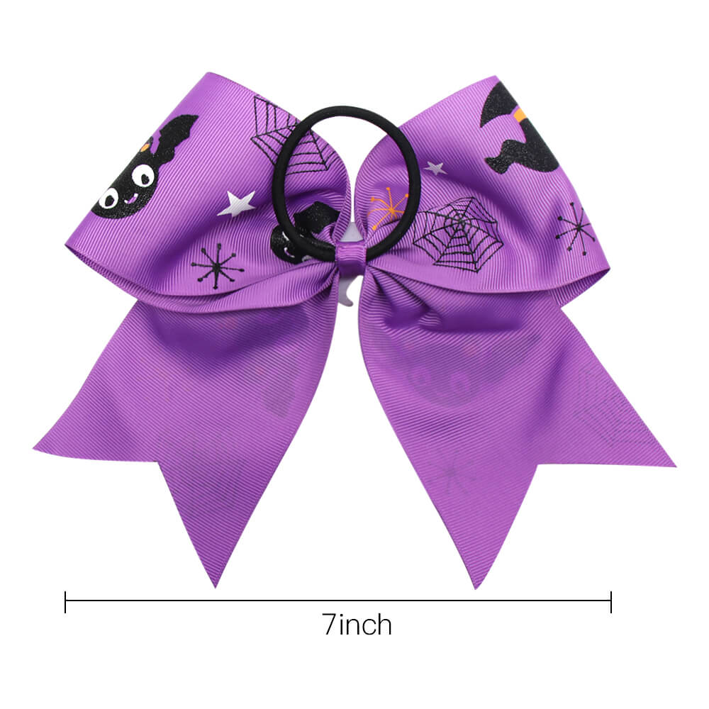 Halloween Print Cheer Bows with Resin Accessories