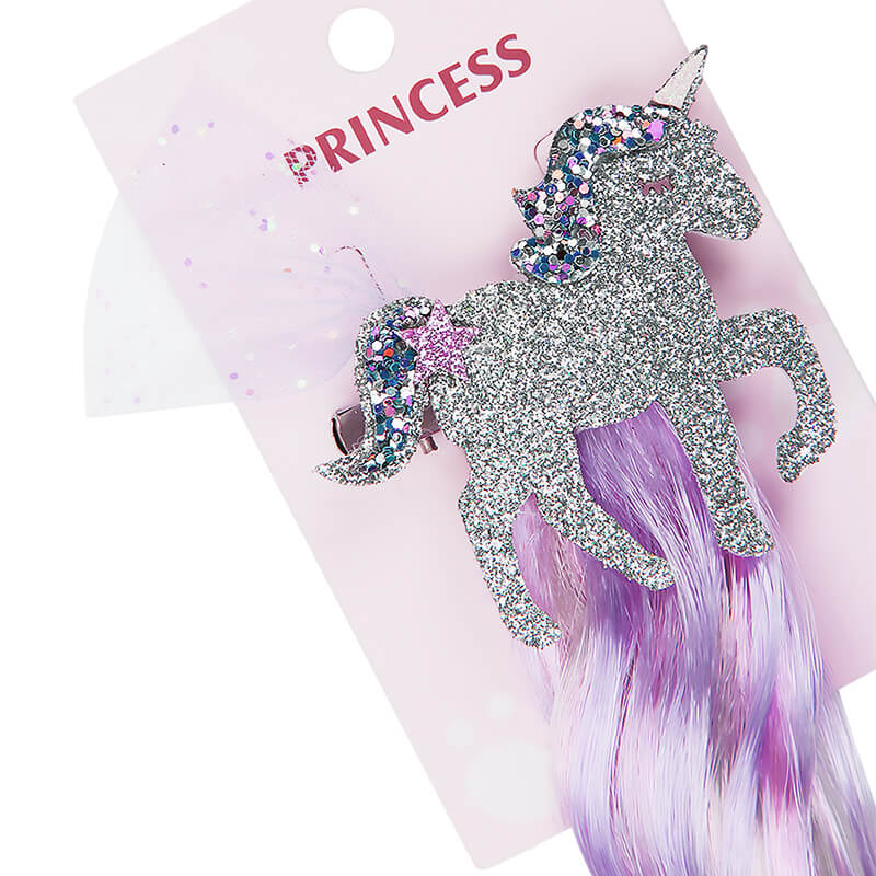Glitter Unicorn Hair Clips with Wig