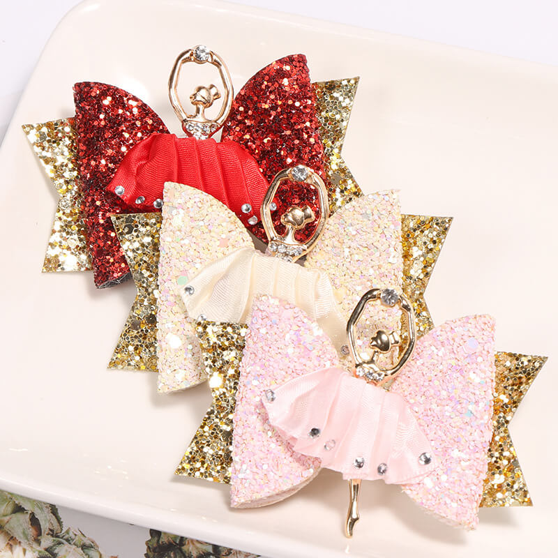 Glitter Hair Clips with Ballerina